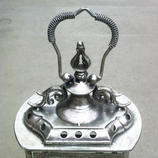 Lantaarn brocante oud zilver woonaccessoires decoratie for Decoratie zilver