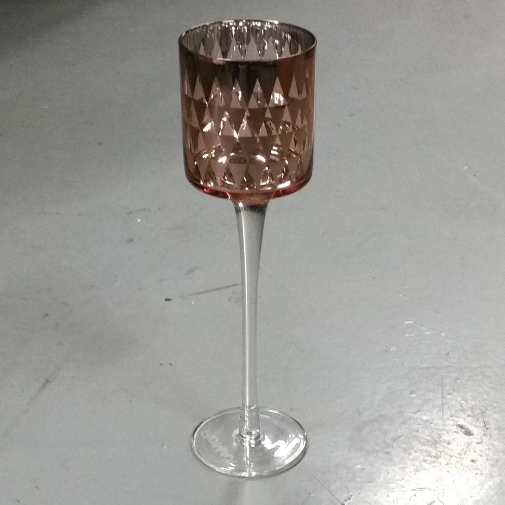 set van drie waxinelichthouders van glas en mooi koperkleurig. De set ...